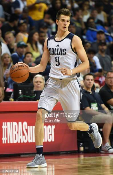 Nicolas Brussino of the Dallas Mavericks brings the ball up the court against the Boston Celtics during the 2017 Summer League at the Thomas Mack...