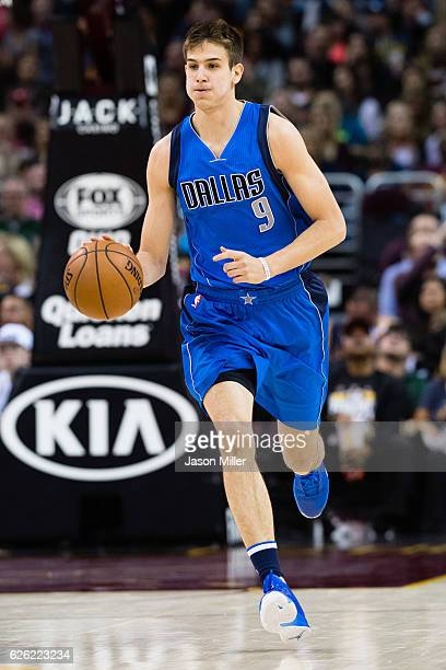 Nicolas Brussino of the Dallas Mavericks drives down court during the first half at Quicken Loans Arena on November 25 2016 in Cleveland Ohio The...