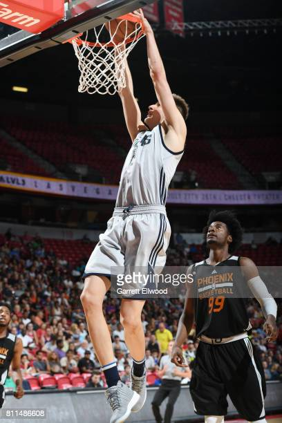 Nicolas Brussino of the Dallas Mavericks dunks against the Phoenix Suns during the 2017 Summer League on July 9 2017 at the Thomas Mack Center in Las...