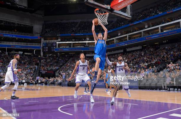 Nicolas Brussino of the Dallas Mavericks dunks against the Sacramento Kings on April 4 2017 at Golden 1 Center in Sacramento California NOTE TO USER...
