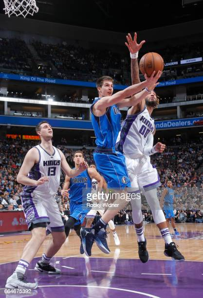 Nicolas Brussino of the Dallas Mavericks goes for a lay up against the Sacramento Kings during the game on April 4 2017 at Golden 1 Center in...