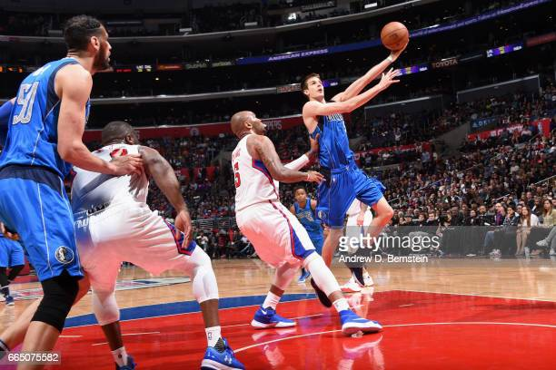 Nicolas Brussino of the Dallas Mavericks goes to the basket against the Los Angeles Clippers on April 5 2017 at STAPLES Center in Los Angeles...