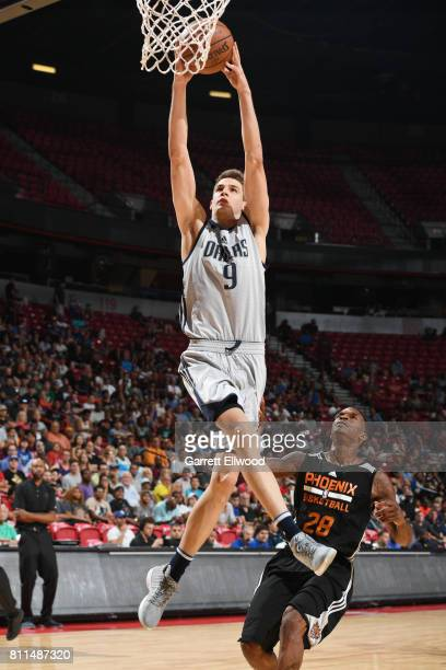 Nicolas Brussino of the Dallas Mavericks goes to the basket against the Phoenix Suns during the 2017 Summer League on July 9 2017 at the Thomas Mack...