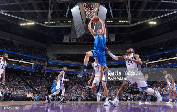 Nicolas Brussino of the Dallas Mavericks goes up for the shot against the Sacramento Kings on April 4 2017 at Golden 1 Center in Sacramento...