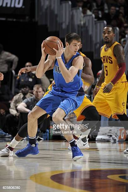 Nicolas Brussino of the Dallas Mavericks handles the ball against the Cleveland Cavaliers on November 25 2016 at Quicken Loans Arena in Cleveland...