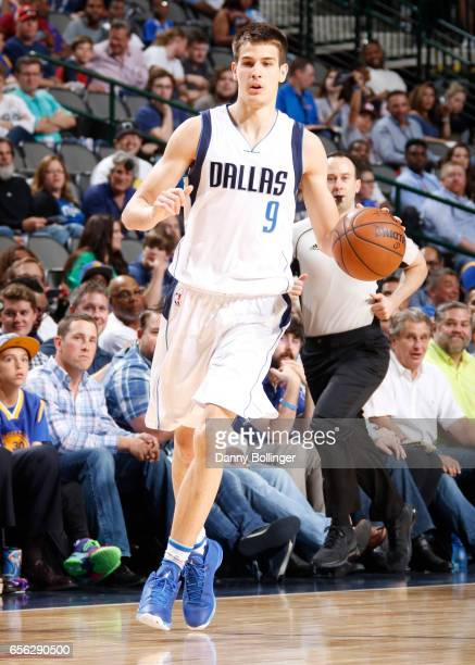 Nicolas Brussino of the Dallas Mavericks handles the ball against the Golden State Warriors during the game on March 21 2017 at the American Airlines...