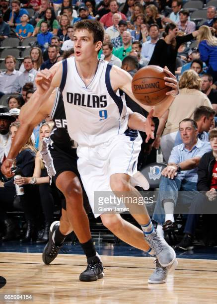 Nicolas Brussino of the Dallas Mavericks handles the ball against the San Antonio Spurs during the game on April 7 2017 at the American Airlines...