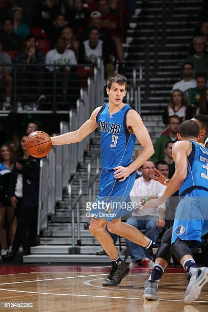 Nicolas Brussino of the Dallas Mavericks handles the ball during a preseason game against the Milwaukee Bucks on October 8 2016 at the Kohl Center in...