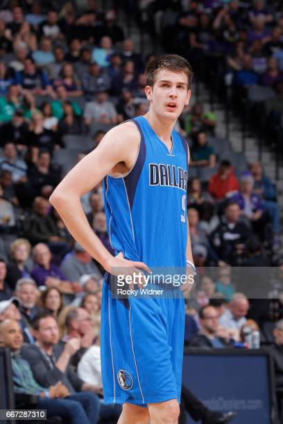 Nicolas Brussino of the Dallas Mavericks looks on during the game against the Sacramento Kings on April 4 2017 at Golden 1 Center in Sacramento...