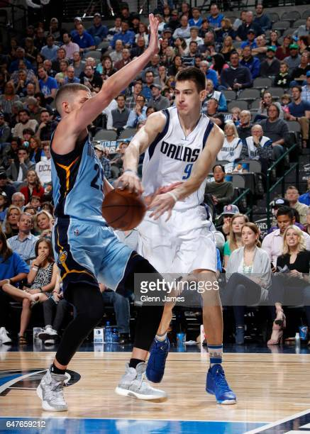 Nicolas Brussino of the Dallas Mavericks passes the ball against the Memphis Grizzlies on March 3 2017 at the American Airlines Center in Dallas...
