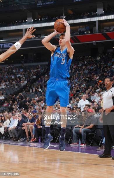 Nicolas Brussino of the Dallas Mavericks shoots a three pointer against the Sacramento Kings on April 4 2017 at Golden 1 Center in Sacramento...