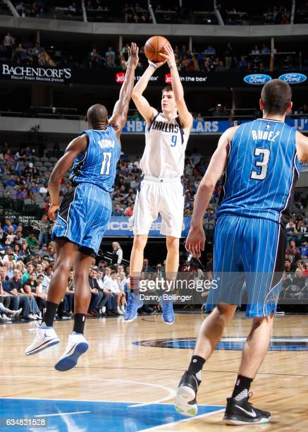 Nicolas Brussino of the Dallas Mavericks shoots the ball against the Orlando Magic on February 11 2017 at the American Airlines Center in Dallas...