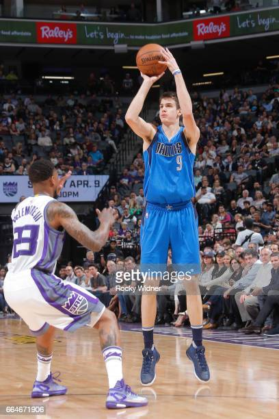 Nicolas Brussino of the Dallas Mavericks shoots the ball against the Sacramento Kings during the game on April 4 2017 at Golden 1 Center in...