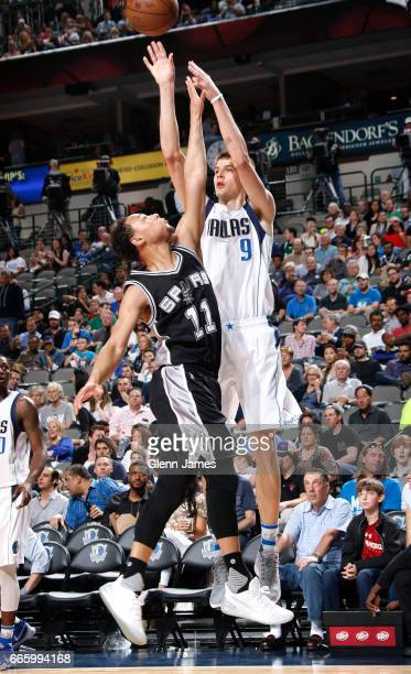 Nicolas Brussino of the Dallas Mavericks shoots the ball against the San Antonio Spurs during the game on April 7 2017 at the American Airlines...