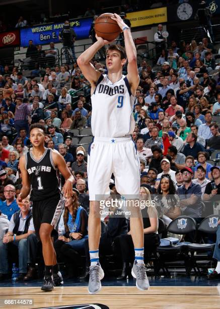 Nicolas Brussino of the Dallas Mavericks shoots the ball against the San Antonio Spurs on April 7 2017 at the American Airlines Center in Dallas...