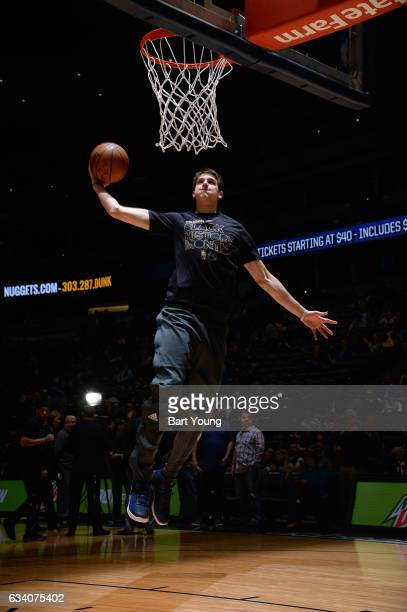 Nicolas Brussino of the Dallas Mavericks warms up before the game against the Denver Nuggets on February 6 2017 at the Pepsi Center in Denver...