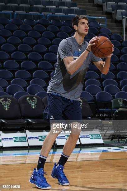 Nicolas Brussino of the Dallas Mavericks warms up before the game against the Milwaukee Bucks on April 2 2017 at the BMO Harris Bradley Center in...