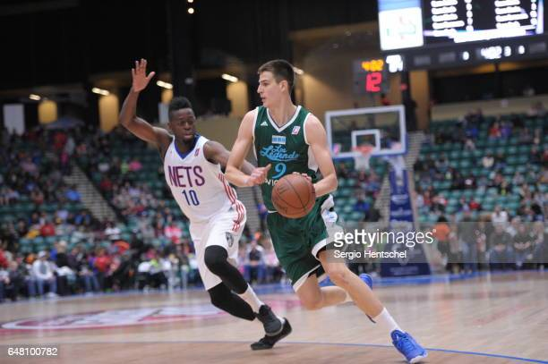 Nicolas Brussino of the Texas Legends drives the ball during game against the Long Island Nets at The Dr Pepper Arena on March 4 2017 in Frisco Texas...