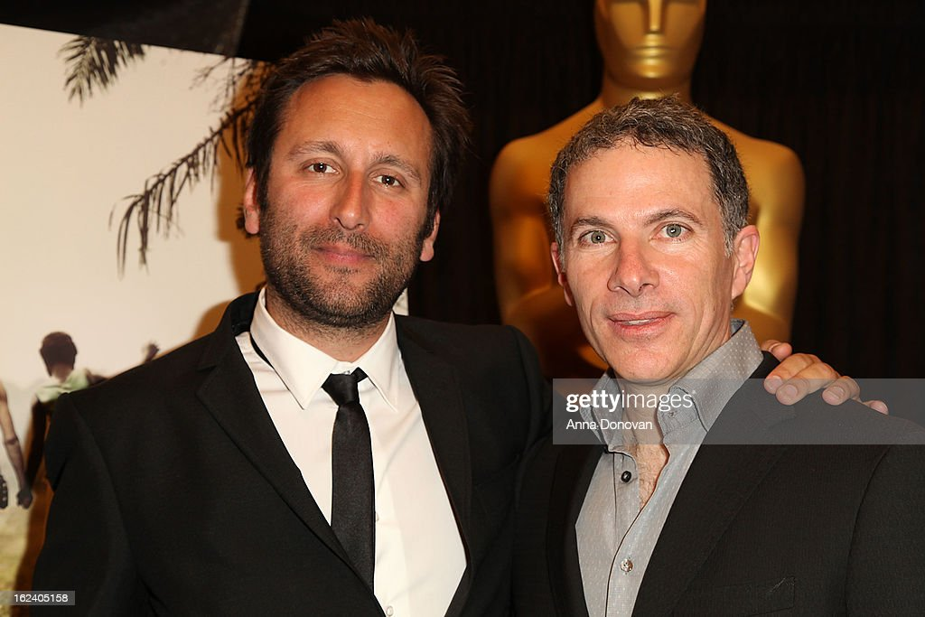DP Nicolas Bulduc(L) and producer Pierre Even(R) of the film 'War Witch' attends the 85th annual Academy Awards Foreign Language Film Award photo-op held at the Dolby Theatre on February 22, 2013 in Hollywood, California.