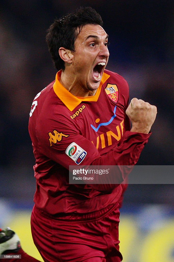 Nicolas Burdisso of AS Roma celebrates after scoring the opening goal during the Serie A match between AS Roma and AC Milan at Stadio Olimpico on...