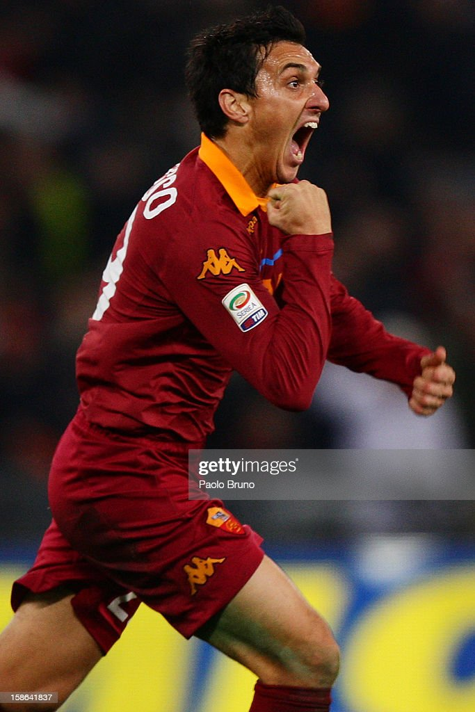 Nicolas Burdisso of AS Roma celebrates after scoring the opening goal during the Serie A match between AS Roma and AC Milan at Stadio Olimpico on December 22, 2012 in Rome, Italy.