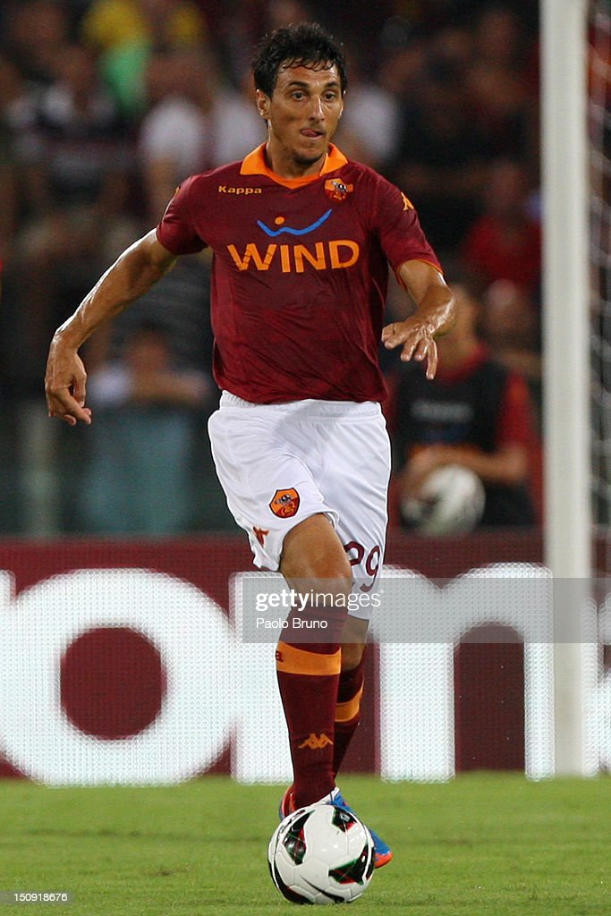 Nicolas Burdisso of AS Roma in action during the Serie A match between AS Roma and Calcio Catania at Stadio Olimpico on August 26 2012 in Rome Italy