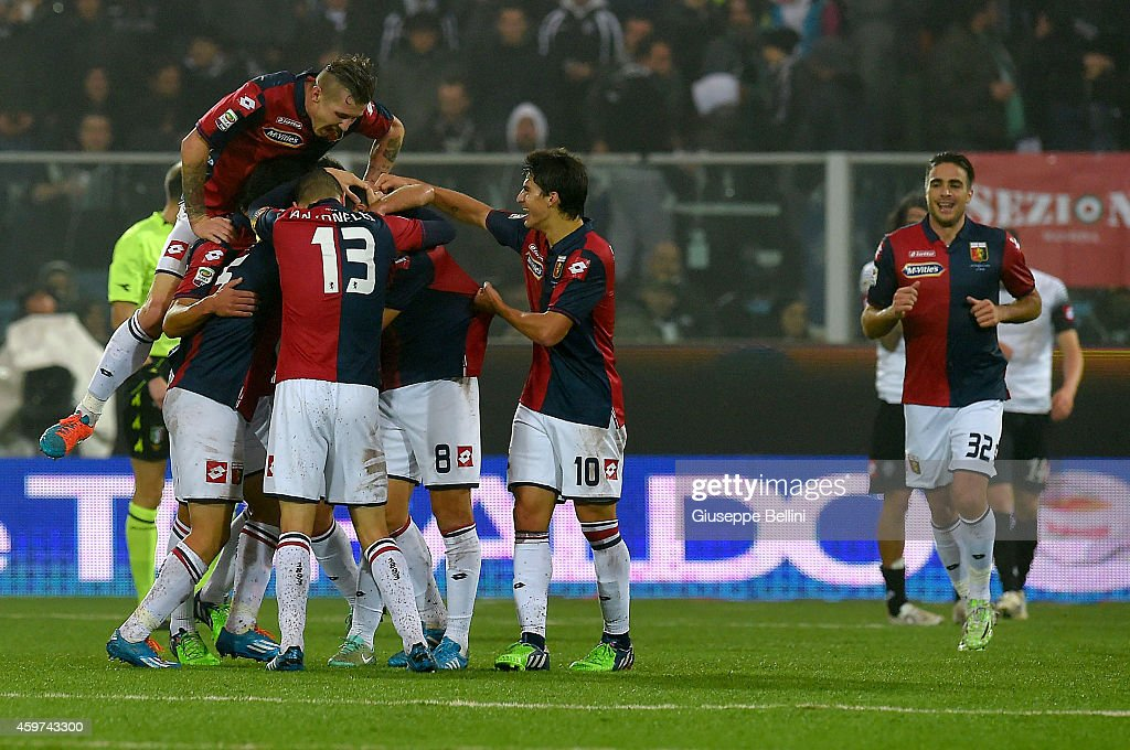 <a gi-track='captionPersonalityLinkClicked' href=/galleries/search?phrase=Nicolas+Burdisso&family=editorial&specificpeople=490963 ng-click='$event.stopPropagation()'>Nicolas Burdisso</a> of Genoa celebrates after scoring the goal 0-3 during the Serie A match between AC Cesena and Genoa CFC at Dino Manuzzi Stadium on November 30, 2014 in Cesena, Italy.