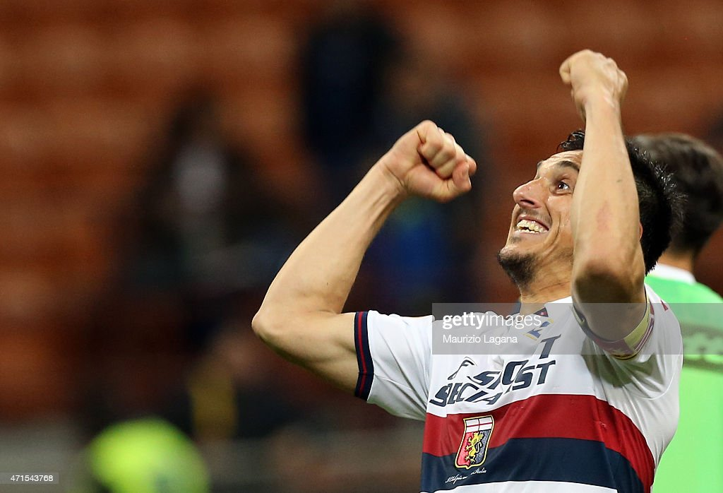 Nicolas Burdisso of Genoa celebrates during the Serie A match between AC Milan and Genoa CFC at Stadio Giuseppe Meazza on April 29 2015 in Milan Italy