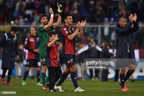 Nicolas Burdisso of Genoa CFC celebrates victory at the end of the Serie A match between Genoa CFC and Cagliari Calcio at Stadio Luigi Ferraris on...