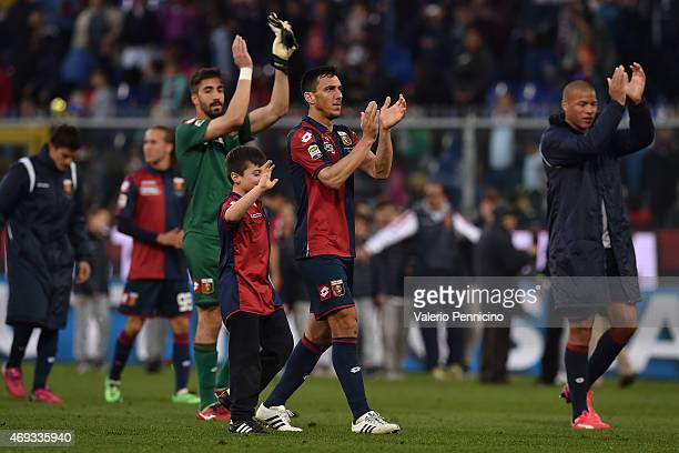 Nicolas Burdisso of Genoa CFC celebrates victory at the end of the Serie A match between Genoa CFC and Cagliari Calcio at Stadio Luigi Ferraris on...