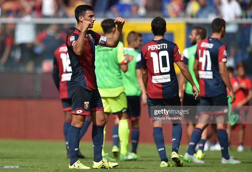 Nicolas Burdisso of Genoa CFC celebrates victory at the end of the Serie A match between Genoa CFC and AC Milan at Stadio Luigi Ferraris on September...