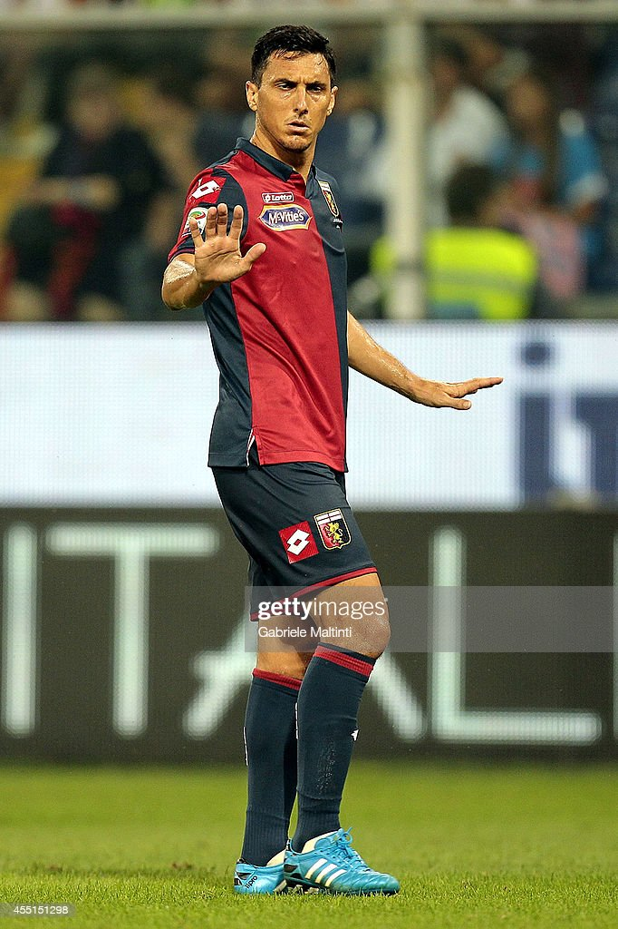 Nicolas Burdisso of Genoa CFC in action during the Serie A match between Genoa CFC and SSC Napoli at Stadio Luigi Ferraris on August 31 2014 in Genoa...