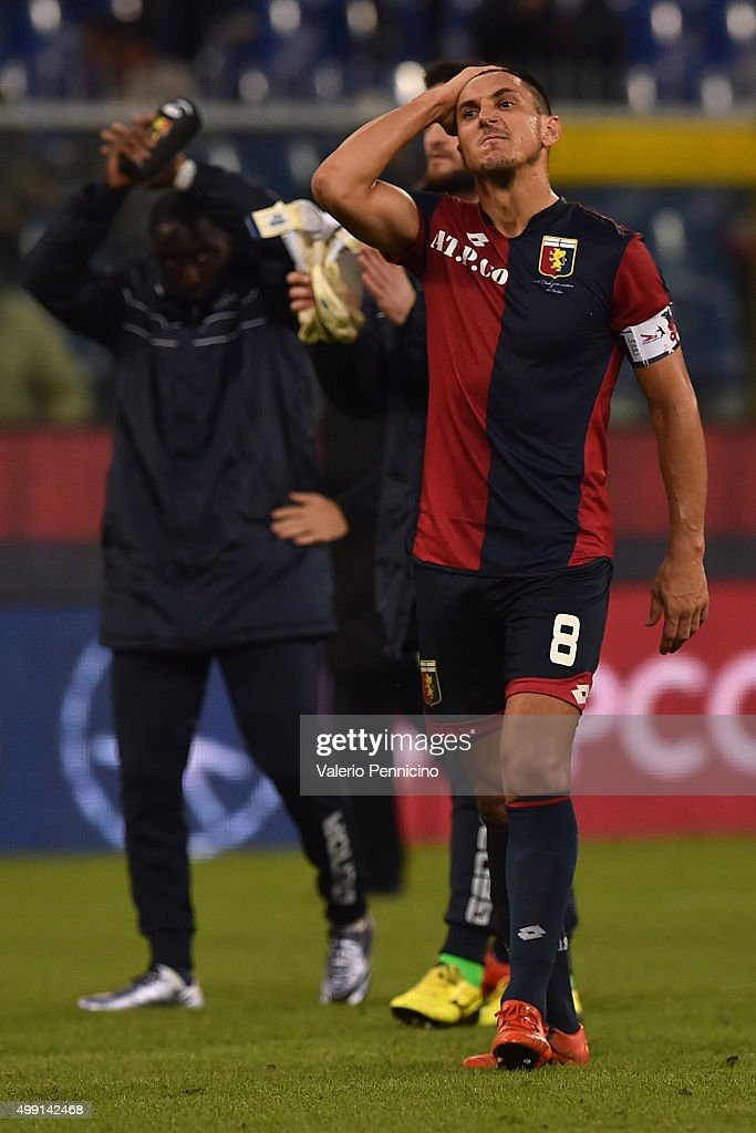 Nicolas Burdisso of Genoa CFC shows his dejection at the end of the Serie A match between Genoa CFC and Carpi FC at Stadio Luigi Ferraris on November...