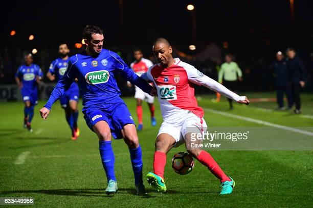 Nicolas Burel of Chambly and Abdou Diallo of Monaco during the French National Cup match between Chambly and AS Monaco Round of 32 on February 1 2017...