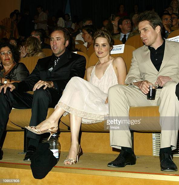 Nicolas Cage Alison Lohman and Sam Rockwell during 2003 Venice Film Festival 'Matchstick Men' Premiere in Venice Lido Italy
