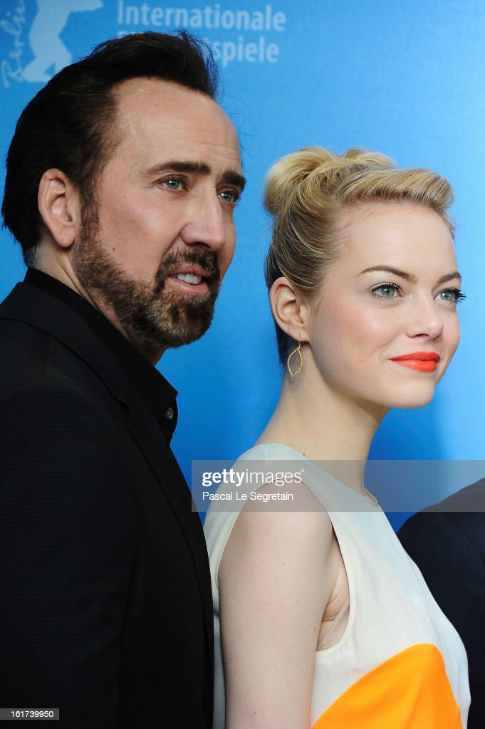 <a gi-track='captionPersonalityLinkClicked' href=/galleries/search?phrase=Nicolas+Cage&family=editorial&specificpeople=196531 ng-click='$event.stopPropagation()'>Nicolas Cage</a> and <a gi-track='captionPersonalityLinkClicked' href=/galleries/search?phrase=Emma+Stone&family=editorial&specificpeople=672023 ng-click='$event.stopPropagation()'>Emma Stone</a> attend the 'The Croods' Photocall during the 63rd Berlinale International Film Festival at the Grand Hyatt Hotel on February 15, 2013 in Berlin, Germany.
