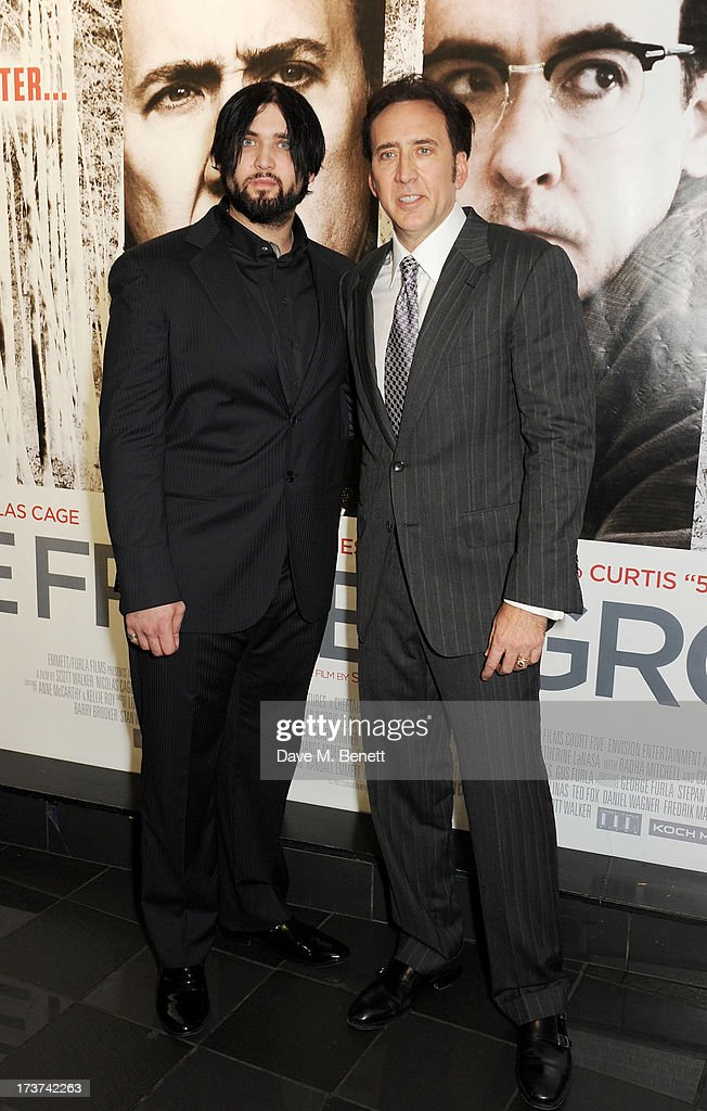 <a gi-track='captionPersonalityLinkClicked' href=/galleries/search?phrase=Nicolas+Cage&family=editorial&specificpeople=196531 ng-click='$event.stopPropagation()'>Nicolas Cage</a> (R) and son Weston attend the UK Premiere of 'The Frozen Ground' at Vue West End on July 17, 2013 in London, England.