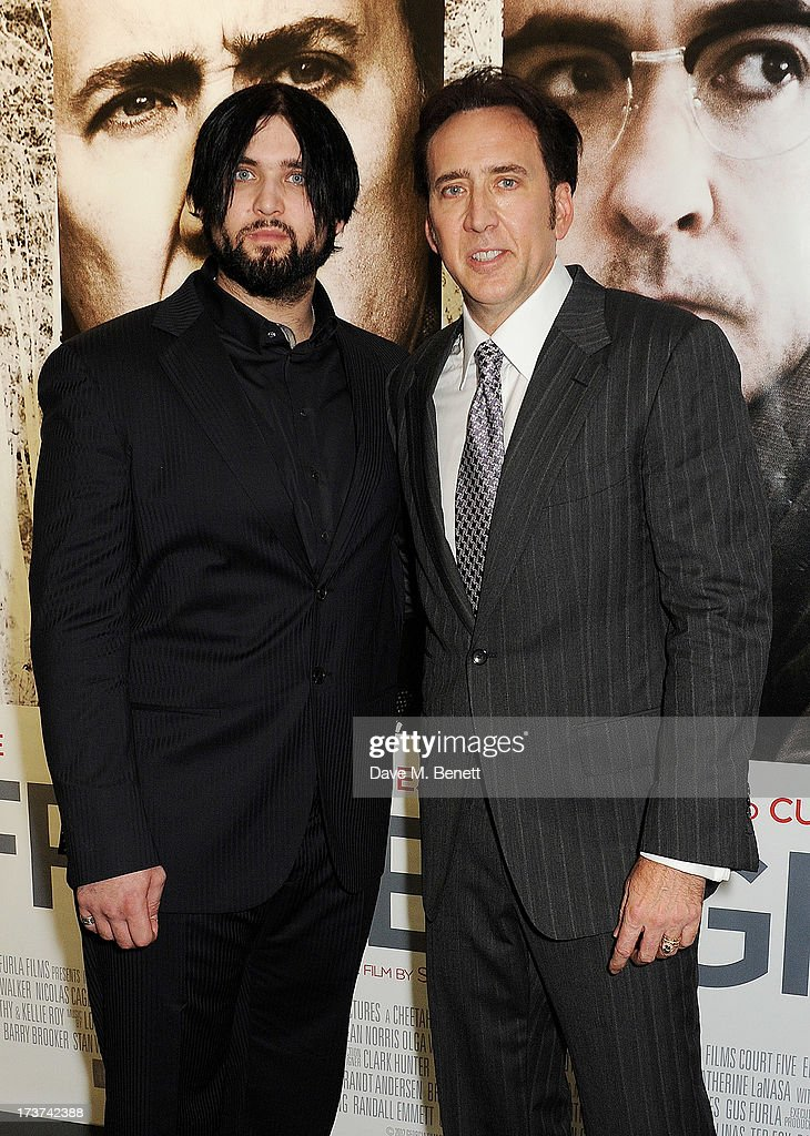 Nicolas Cage (R) and son Weston attend the UK Premiere of 'The Frozen Ground' at Vue West End on July 17, 2013 in London, England.