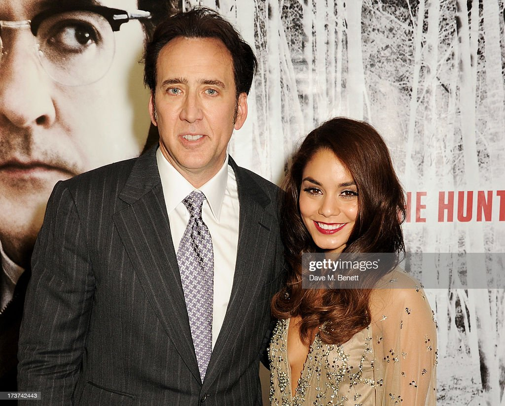 Nicolas Cage (L) and Vanessa Hudgens attend the UK Premiere of 'The Frozen Ground' at Vue West End on July 17, 2013 in London, England.