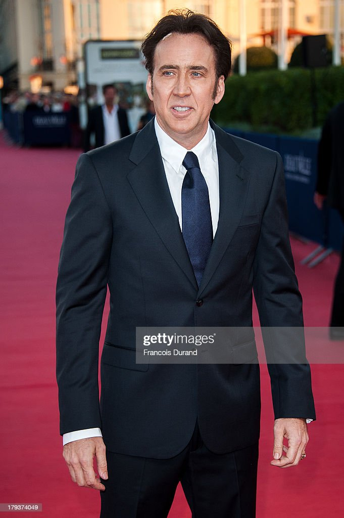 <a gi-track='captionPersonalityLinkClicked' href=/galleries/search?phrase=Nicolas+Cage&family=editorial&specificpeople=196531 ng-click='$event.stopPropagation()'>Nicolas Cage</a> arrives at the premiere of the movie 'Joe' during the 39th Deauville American film festival on September 2, 2013 in Deauville, France.