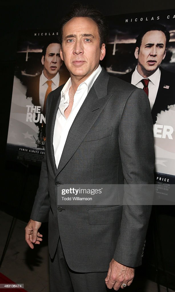 <a gi-track='captionPersonalityLinkClicked' href=/galleries/search?phrase=Nicolas+Cage&family=editorial&specificpeople=196531 ng-click='$event.stopPropagation()'>Nicolas Cage</a> attends Alchemy's Los Angeles Premiere Of 'The Runner' at TCL Chinese 6 Theatres on August 5, 2015 in Hollywood, California.