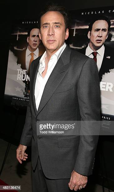 Nicolas Cage attends Alchemy's Los Angeles Premiere Of 'The Runner' at TCL Chinese 6 Theatres on August 5 2015 in Hollywood California