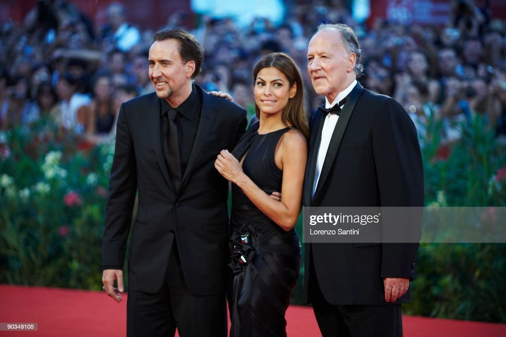 Nicolas Cage, Eva Mendes and Werner Herzog attend the 'Bad Lieutenant' Movie Premiere at the 66th Venice Movie Festival on September 4, 2009 in Venice, Italy.