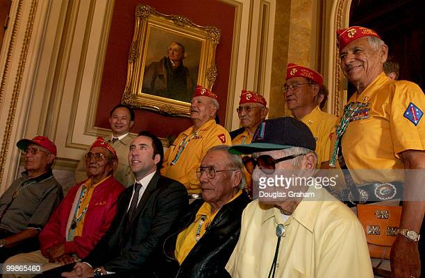 Nicolas Cage poses with the real 'code talkers' during the breakfast conference with the remaining Navajo 'code talkers' from World War II The event...