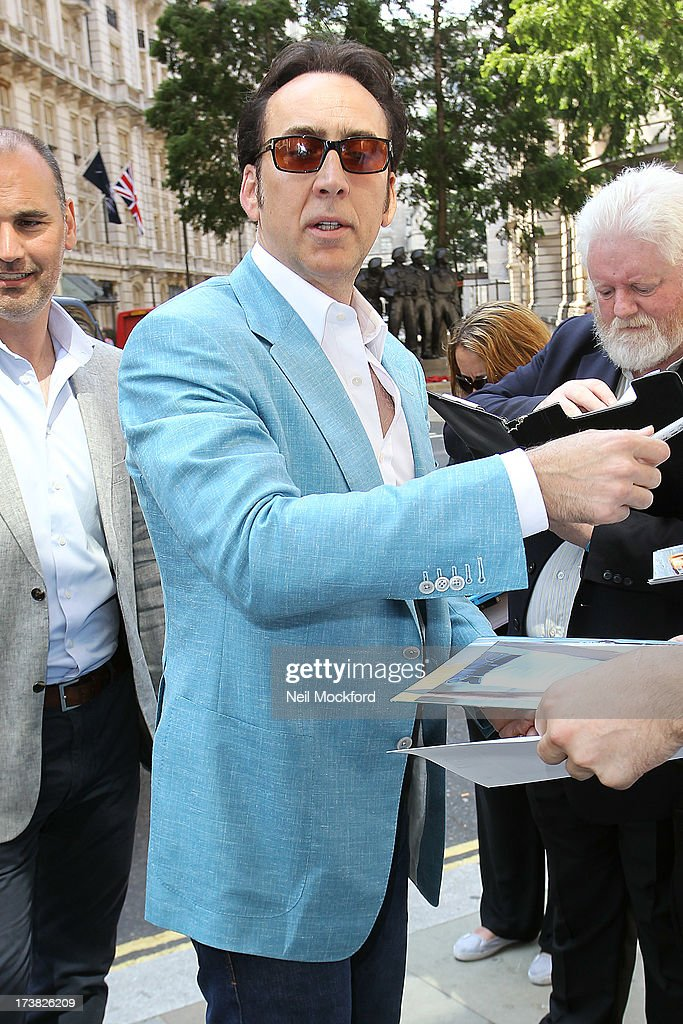 Nicolas Cage seen returning to his hotel on July 18, 2013 in London, England.
