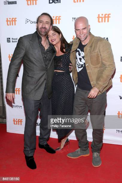 Nicolas Cage Selma Blair and Brian Taylor attend the 'Mom and Dad' premiere during the 2017 Toronto International Film Festival at Ryerson Theatre on...
