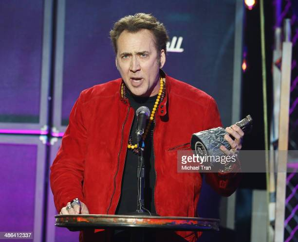 Nicolas Cage speaks onstage during the 6th Annual Revolver Golden Gods Award Show held at Club Nokia on April 23 2014 in Los Angeles California