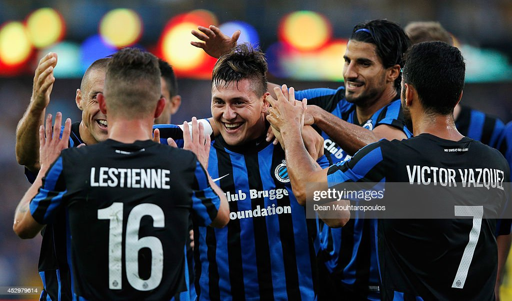 Nicolas Castillo (C) of Brugge celebrates scoring the second goal of the game with team mates during the UEFA Europa League 3rd qualifying round first leg match between Club Brugge KV and Brondby IF at the Jan Breydel Stadium on July 31, 2014 in Brugge, Belgium.