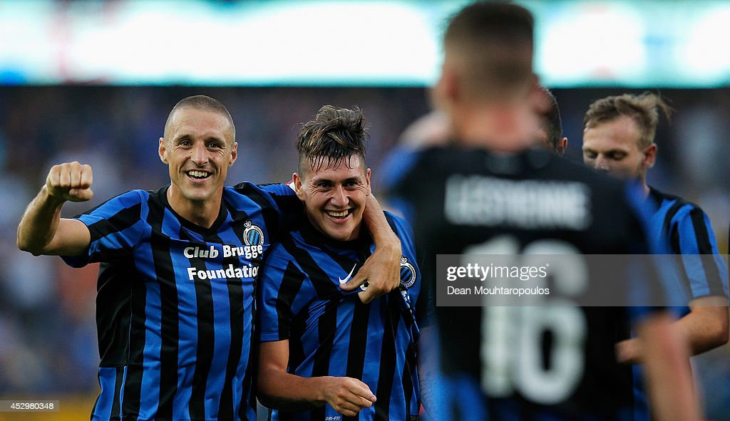 Nicolas Castillo (2nd from L) of Brugge celebrates scoring the second goal of the game with team mates during the UEFA Europa League 3rd qualifying round first leg match between Club Brugge KV and Brondby IF at the Jan Breydel Stadium on July 31, 2014 in Brugge, Belgium.