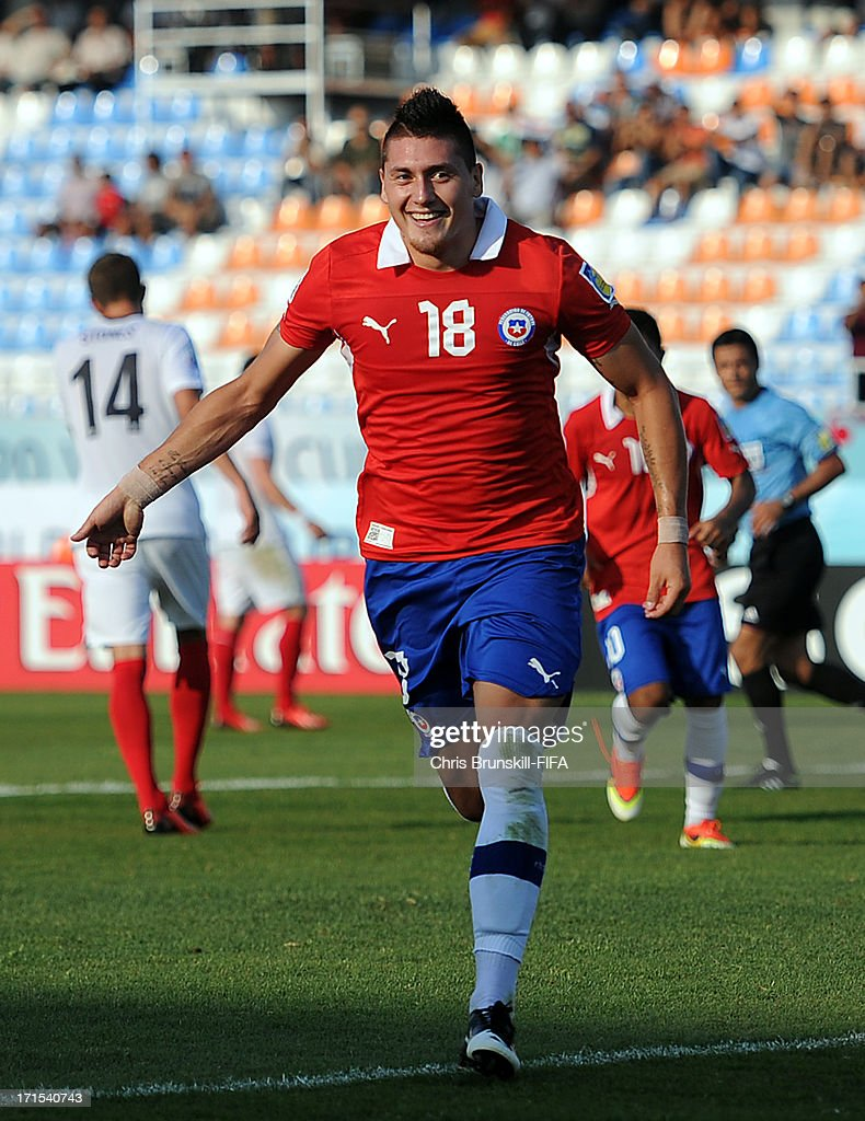 Nicolas Castillo of Chile celebrates scoring the opening goal from the penalty spot during the FIFA U20 World Cup Group E match between Chile and England at Akdeniz University Stadium on June 26, 2013 in Antalya, Turkey.